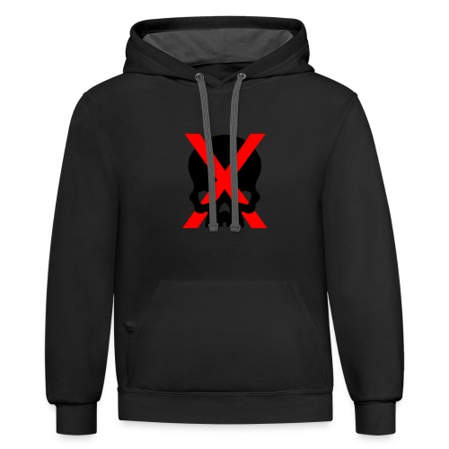 red x and black skull - Contrast Hoodie