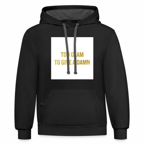 TOO GLAM TO GIVE A DAMN GOLD PRINT - Contrast Hoodie