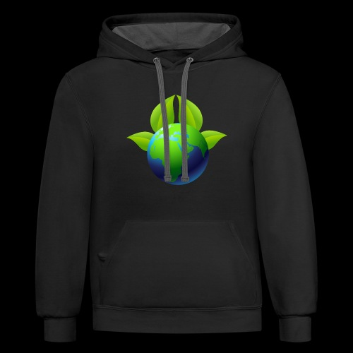 Earth with Leaves - Save the planet - Contrast Hoodie