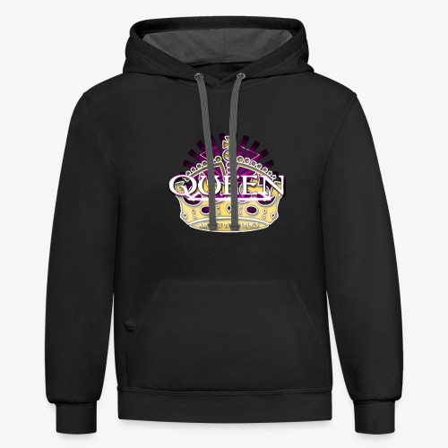 QUEEN AMONGST OTHER THINGS - PINK - Contrast Hoodie