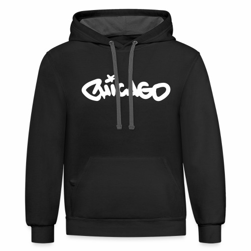 Chicago Graffiti Tag (white copy) - Contrast Hoodie