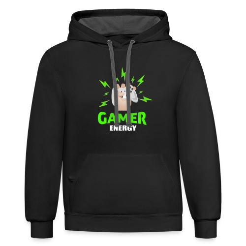 Gamer energy shirt game player for men and women - Contrast Hoodie