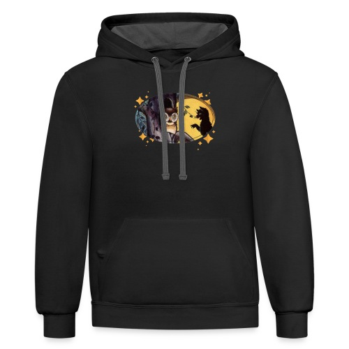 Full Moon and the Black Cat Visit Owl on Halloween - Contrast Hoodie