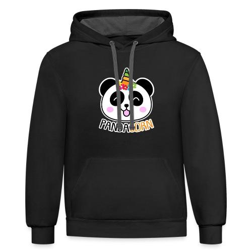 Pandacorn Panda Unicorn Tshirt - Contrast Hoodie