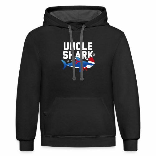 Uncle Shark Christmas Funny Family Matching Shirt - Contrast Hoodie