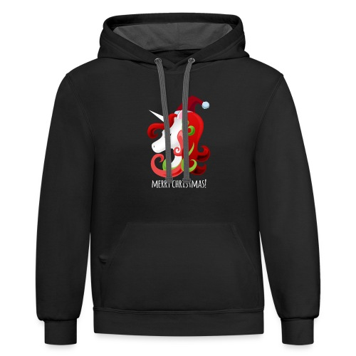 Unicorn Merry Christmas | Christmas Unicorn - Contrast Hoodie