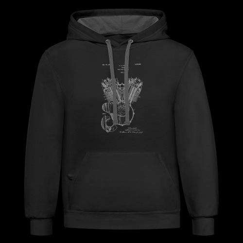 Authentic V-twin HD Motorcycle Engine Patent 1919 - Contrast Hoodie