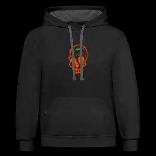 grunge skull - Contrast Hoodie