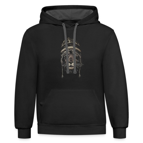 Lion white hat beanie king animal - Contrast Hoodie
