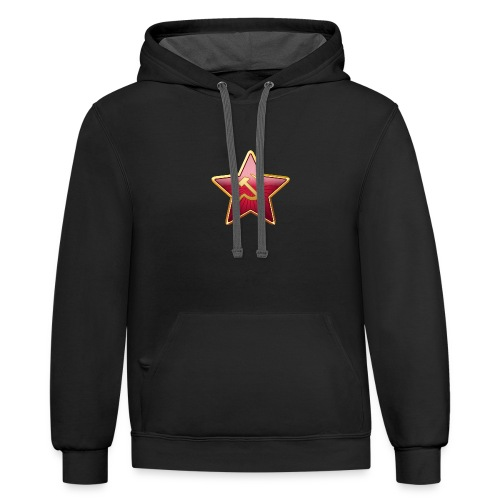Red star with a sickle and a hammer - Contrast Hoodie