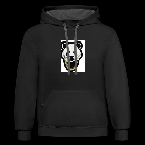 A fly panda with a gold chain - Contrast Hoodie