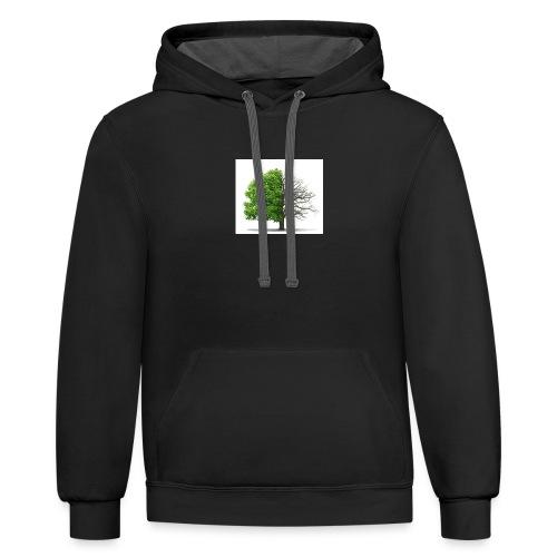 dead tree 1 - Contrast Hoodie