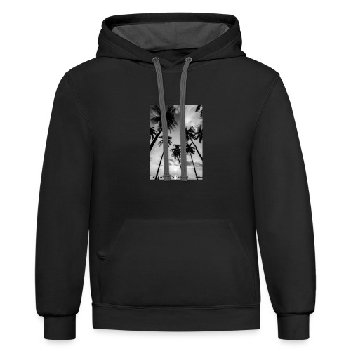 Black and white palm tree - Contrast Hoodie