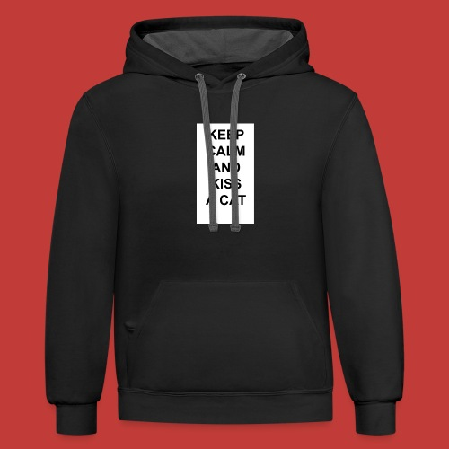 Keep calm and kiss a cat - Contrast Hoodie