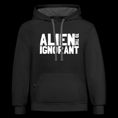 Alien to the Ignorant Logo - White - Contrast Hoodie