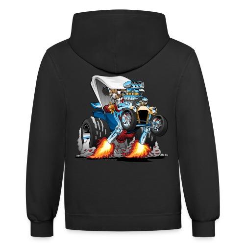 Custom T-bucket Roadster Hotrod Cartoon - Contrast Hoodie