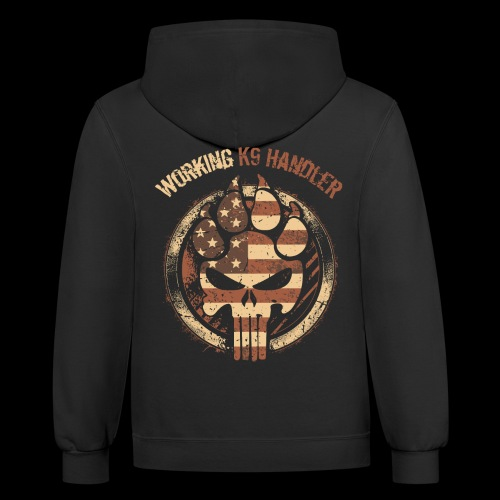 Working K9 Handler Red, White, and Blue Grunge - Contrast Hoodie