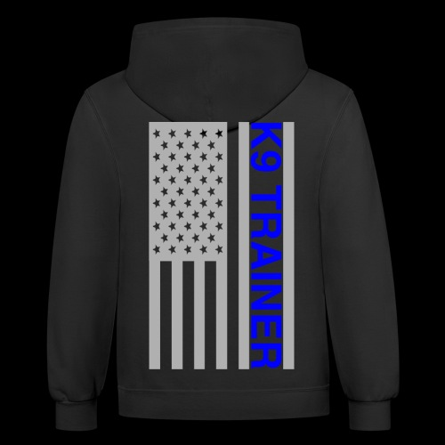 K9 Trainer: Thin Blue Line Flag - Contrast Hoodie