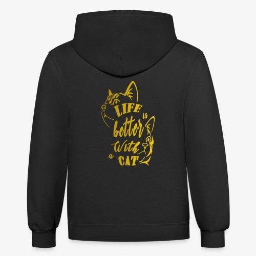 Life with cat gold - Contrast Hoodie