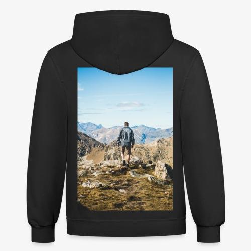 man hiking - Contrast Hoodie