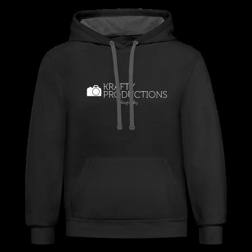 White Krafty Productions Logo - Contrast Hoodie