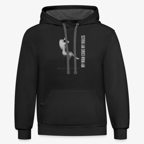 Man Cave Hideout making the rules - Contrast Hoodie