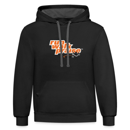 Run, Walk, Praise Fitness Shirt - Orange - Contrast Hoodie