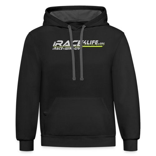 iRace4Life.org Gray Logo w/ iRace-iWin-iGive! - Contrast Hoodie