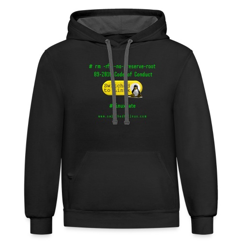 rm Linux Code of Conduct - Contrast Hoodie