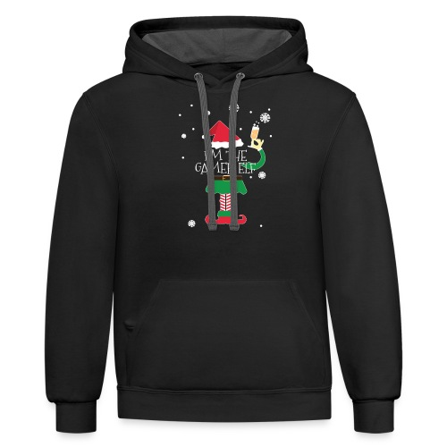 Im the gamer Elf Funny Christmas T-Shirt Gift - Contrast Hoodie