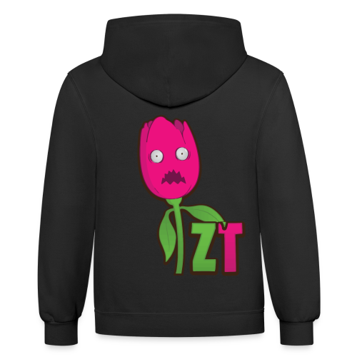 Scared ZombieTulip Shirt - Contrast Hoodie