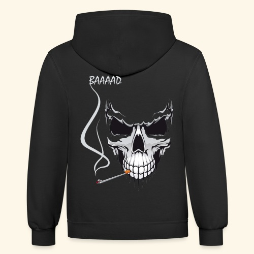 bad smoking skull long sleeve shirts - Contrast Hoodie