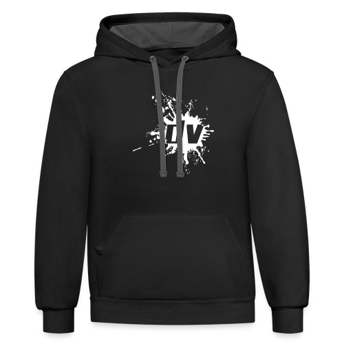 logo small white png - Contrast Hoodie