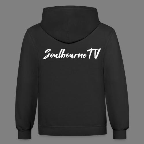 SoulbourneTV - White on Black - Unisex Contrast Hoodie