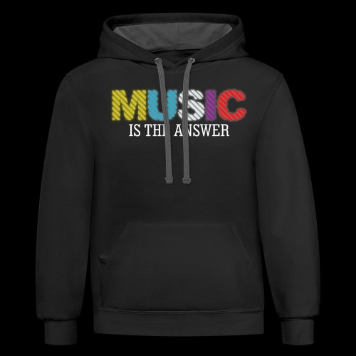 Music Is The Answer! - Unisex Contrast Hoodie
