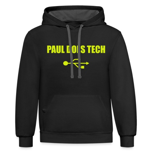 Paul Does Tech Logo Yellow With USB (BS) - Contrast Hoodie