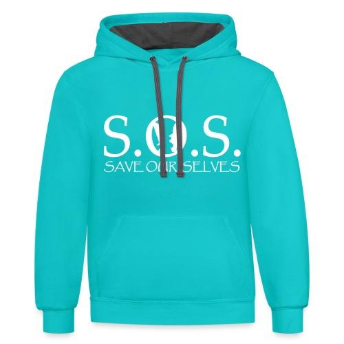 SOS WHITE4 - Unisex Contrast Hoodie