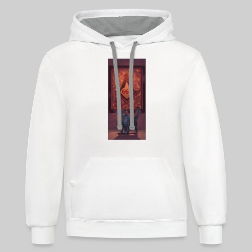 666 Three Eyed Satanic Kitten with Stained Glass - Contrast Hoodie
