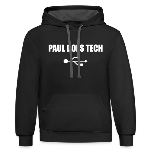 Paul Does Tech White Logo With USB - Contrast Hoodie