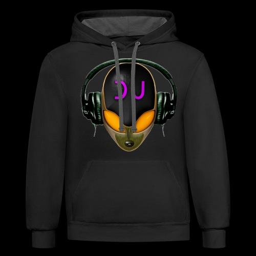Alien DJ - Orange - Hard Shell Bug - Unisex Contrast Hoodie