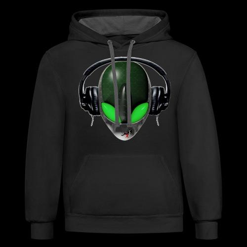 Reptoid Green Alien Face DJ Music Lover - Friendly - Unisex Contrast Hoodie