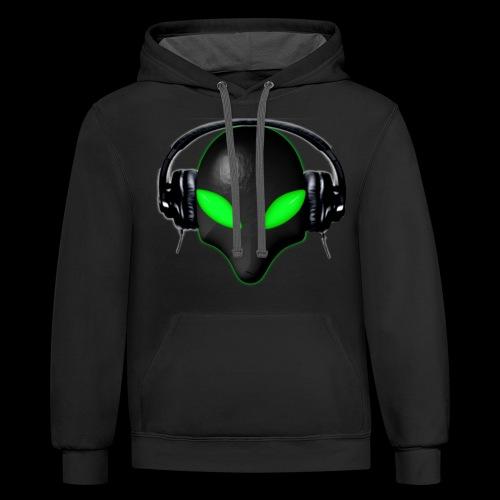 Alien Bug Face Green Eyes in DJ Headphones - Unisex Contrast Hoodie