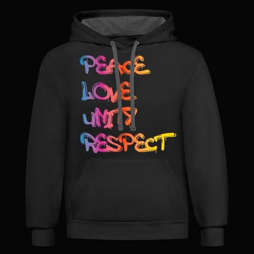 Peace Love Unity Respect - Unisex Contrast Hoodie