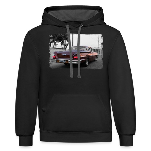 wine red car - Unisex Contrast Hoodie