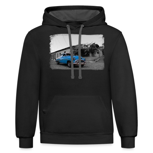 light blue car - Unisex Contrast Hoodie