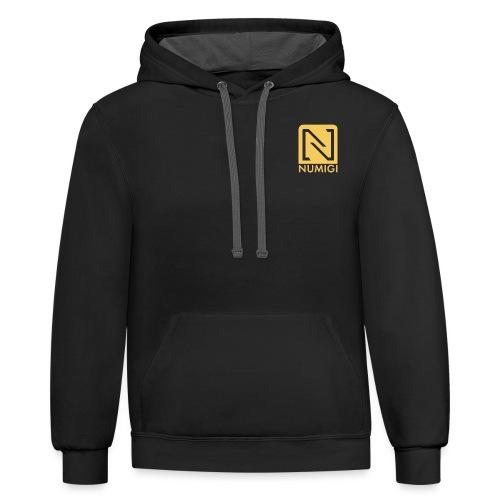 Molleton à capuche noir, logo jaune - Unisex Contrast Hoodie