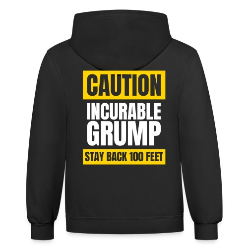 Incurable Grump US Version - With Team Grump Badge - Unisex Contrast Hoodie