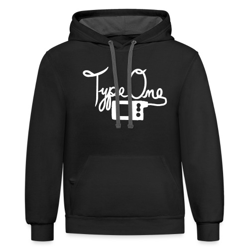 Type One - Insulin Pump 2- White - Contrast Hoodie