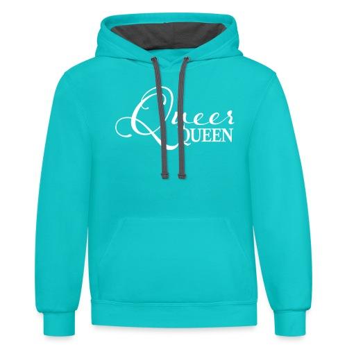 Queer Queen T-shirt 04 - Unisex Contrast Hoodie