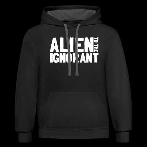Alien to the Ignorant Logo - White - Unisex Contrast Hoodie